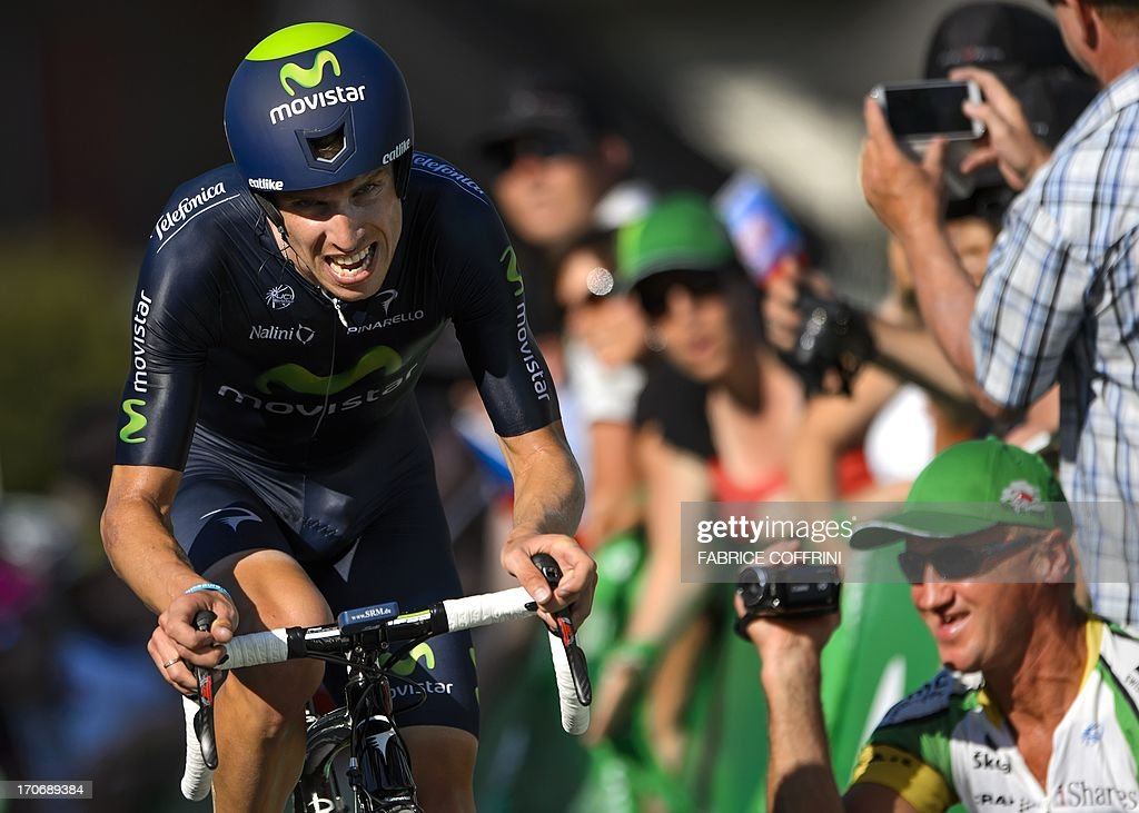 The winner of the Tour of Switzerland, Portugal's Rui Costa (Movistar) rides on his way to win the final stage, a 26,8 km time trial between Bad Ragaz and Flumserberg on June 16, 2013.