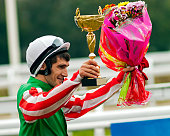 The Winner,jockeys Timur Guseinov an the race for the prize of the Russian Cup in Pyatigorsk, Caucasus, Russia.