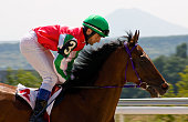 Action shot of jockeys in horse race,Pyatigorsk,.