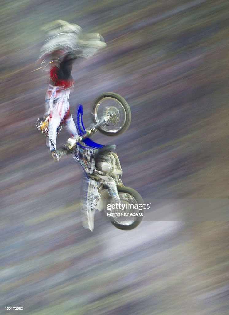 The winner Thomas Pages of France in action during the Red Bull X-Fighters World Tour at Olympia stadium on August 11, 2012 in Munich, Germany.