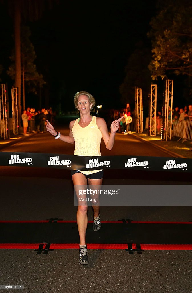 The winner Victoria Mitchell who finished in 34.09 crosses the finish line during Nike She Runs 10k at Centennial Park on May 4, 2013 in Sydney, Australia.