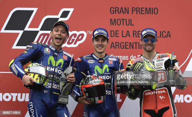 The winner Yamaha's Spanish biker Maverick Vinales 2nd placed also from YamahaItalian Valentino Rossi and 3rd placed Honda biker Cal Crutchlow from...
