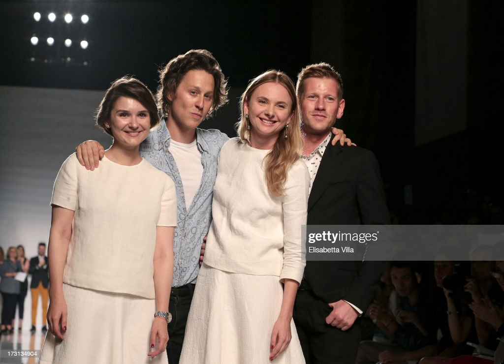 The winners <a gi-track='captionPersonalityLinkClicked' href=/galleries/search?phrase=Arthur+Arbesser+-+Fashion+Designer&family=editorial&specificpeople=15073485 ng-click='$event.stopPropagation()'>Arthur Arbesser</a> (2nd L), Paul Andrew (R) and Esme Vie attend 'Who Is On Next?' Altaroma Vogue Italia fashion show as part of AltaRoma AltaModa Fashion Week at Santo Spirito In Sassia on July 8, 2013 in Rome, Italy.