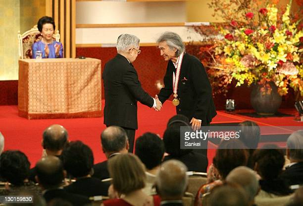 The winners of the 23th Praemium Imperiale Awards conductor Seiji Ozawa receives a medal from Princess Hitachi during the Praemium Imperiale Awards...