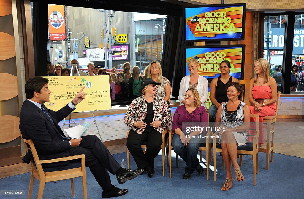 AMERICA - The winners of the $448 million Powerball jackpot, all employees of 16 Ocean County Vehicle Maintenance in Tom's River, NJ, appear on 'Good Morning America,' 8/13/13, airing on the ABC Television Network. JOSH ELLIOTT, OCEAN