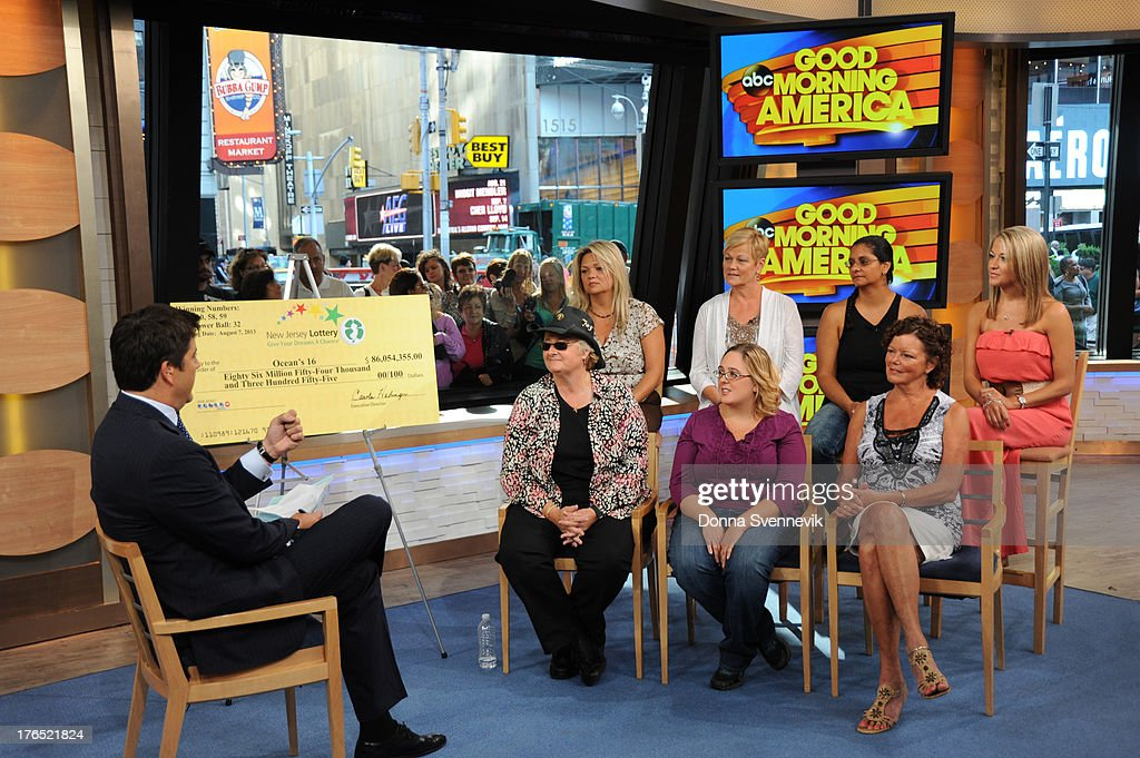 AMERICA - The winners of the $448 million Powerball jackpot, all employees of 16 Ocean County Vehicle Maintenance in Tom's River, NJ, appear on 'Good Morning America,' 8/13/13, airing on the ABC Television Network. WINNERS