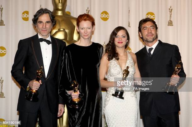 The winners of the awards for acting Daniel Day Lewis Tilda Swinton Marion Cotillard and Javier Bardem at the 80th Academy Awards at the Kodak...