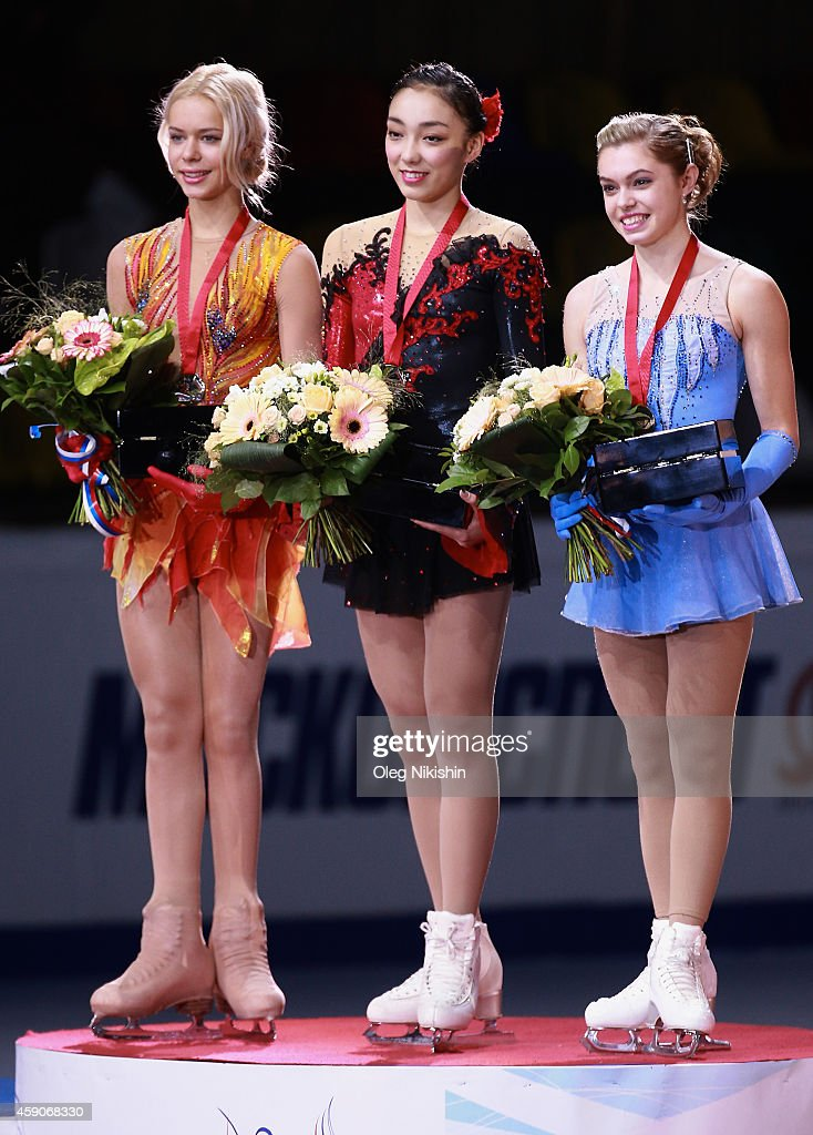 The winners of the ladies competition from left to right are, Silver medalist from Russia <a gi-track='captionPersonalityLinkClicked' href=/galleries/search?phrase=Anna+Pogorilaya&family=editorial&specificpeople=10062042 ng-click='$event.stopPropagation()'>Anna Pogorilaya</a>, Gold metalist from Japan <a gi-track='captionPersonalityLinkClicked' href=/galleries/search?phrase=Rika+Hongo&family=editorial&specificpeople=10092257 ng-click='$event.stopPropagation()'>Rika Hongo</a>, Bronze metalist from Canada <a gi-track='captionPersonalityLinkClicked' href=/galleries/search?phrase=Alaine+Chartrand&family=editorial&specificpeople=11035128 ng-click='$event.stopPropagation()'>Alaine Chartrand</a> all stand together holding their medals during ISU Rostelecom Cup of Figure Skating 2014 on November 16, 2014 in Moscow, Russia.