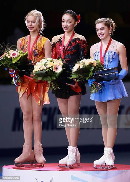 The winners of the ladies competition from left to right are Silver medalist from Russia Anna Pogorilaya Gold metalist from Japan Rika Hongo Bronze...