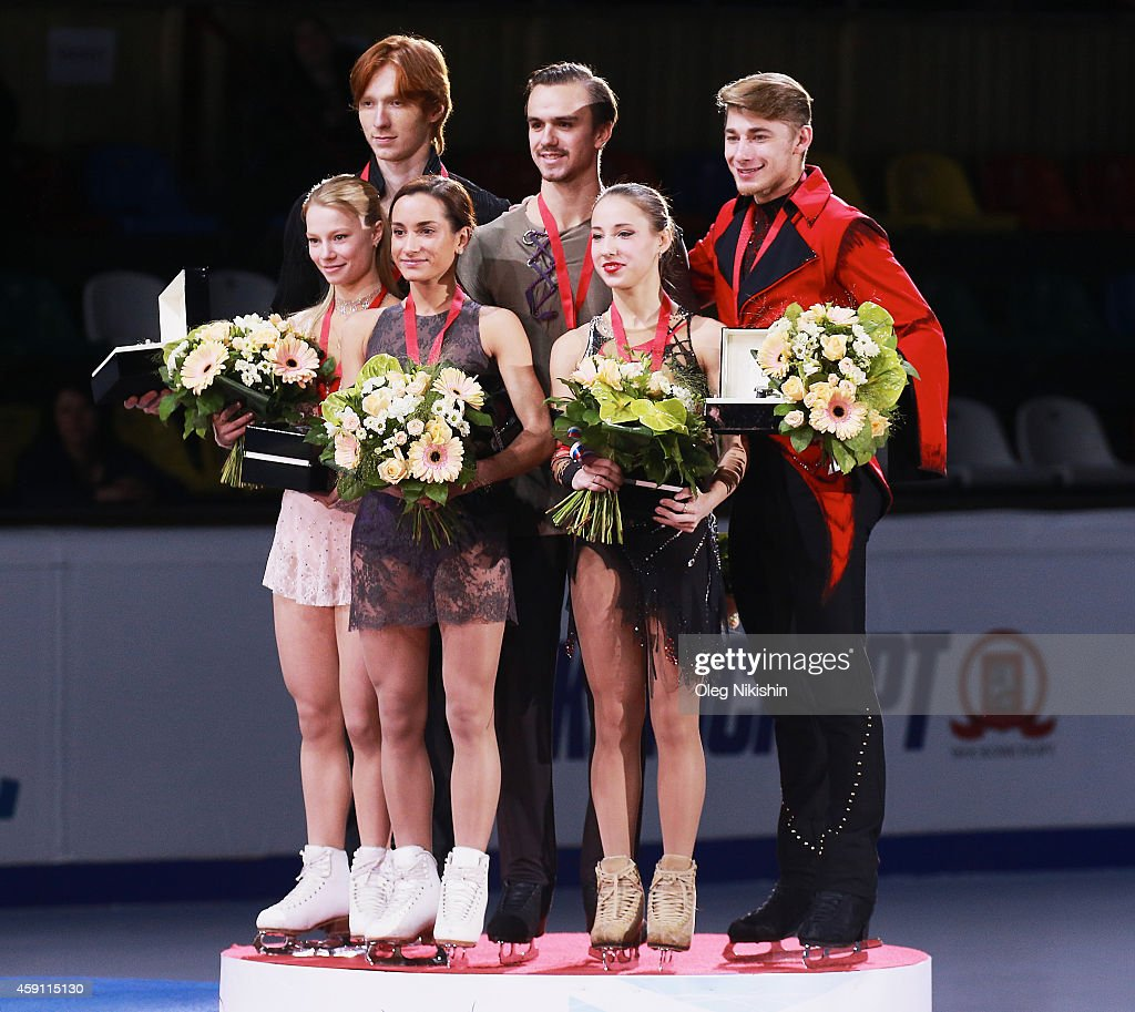 The winners of the Pair competition from left to right are, Silver medalist from Russia Evgenia Tarasova and <a gi-track='captionPersonalityLinkClicked' href=/galleries/search?phrase=Vladimir+Morozov&family=editorial&specificpeople=6614710 ng-click='$event.stopPropagation()'>Vladimir Morozov</a>, Gold metalist from Russia <a gi-track='captionPersonalityLinkClicked' href=/galleries/search?phrase=Ksenia+Stolbova&family=editorial&specificpeople=7338286 ng-click='$event.stopPropagation()'>Ksenia Stolbova</a> and <a gi-track='captionPersonalityLinkClicked' href=/galleries/search?phrase=Fedor+Klimov&family=editorial&specificpeople=7338285 ng-click='$event.stopPropagation()'>Fedor Klimov</a>, Bronze metalist from Russia Kristina Astakhova and Alexei Rogonov pose on the podium during ISU Rostelecom Cup of Figure Skating 2014 on November 16, 2014 in Moscow, Russia.