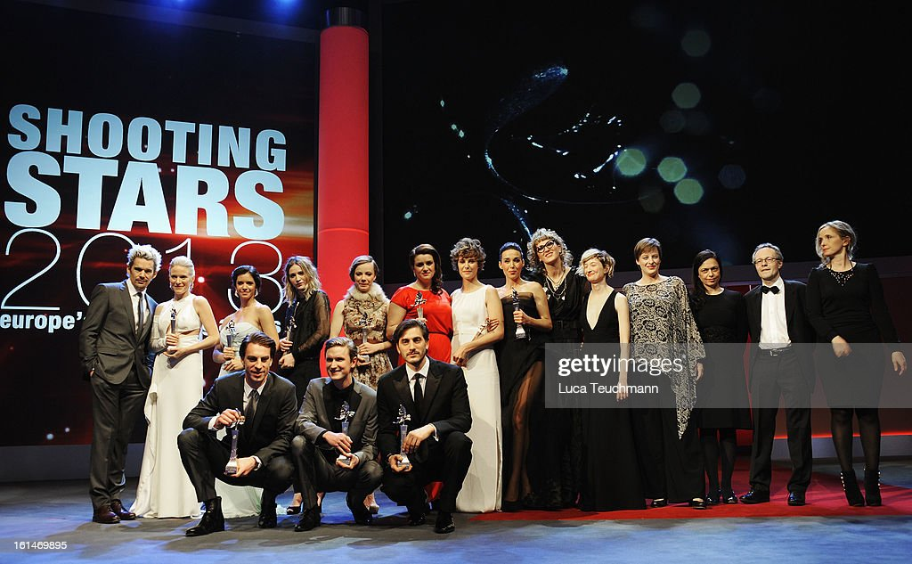 The winners pose onstage with <a gi-track='captionPersonalityLinkClicked' href=/galleries/search?phrase=Ethan+Hawke&family=editorial&specificpeople=178274 ng-click='$event.stopPropagation()'>Ethan Hawke</a>, <a gi-track='captionPersonalityLinkClicked' href=/galleries/search?phrase=Alba+Rohrwacher&family=editorial&specificpeople=4296508 ng-click='$event.stopPropagation()'>Alba Rohrwacher</a> and <a gi-track='captionPersonalityLinkClicked' href=/galleries/search?phrase=Julie+Delpy&family=editorial&specificpeople=201914 ng-click='$event.stopPropagation()'>Julie Delpy</a> at the Shooting Stars Stage Presentation during the 63rd Berlinale International Film Festival at the Berlinale Palast on February 11, 2013 in Berlin, Germany.