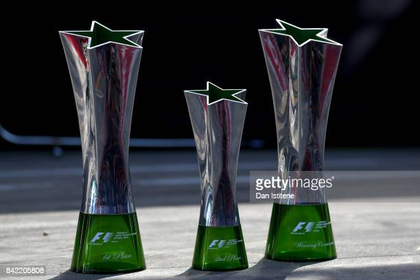 The winners second place and constructors trophies after the Formula One Grand Prix of Italy at Autodromo di Monza on September 3 2017 in Monza Italy