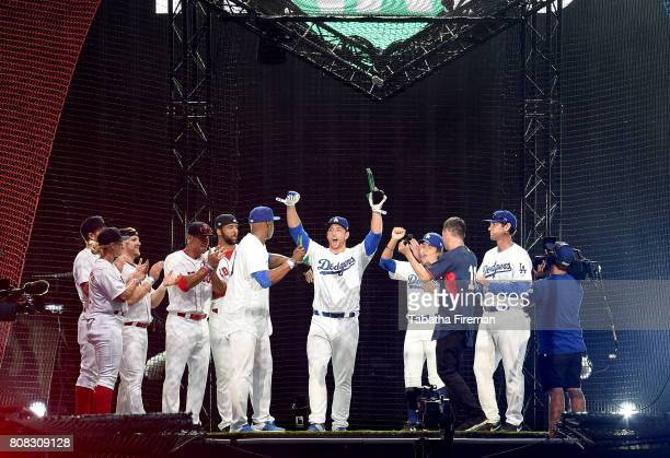 The winners the LA Dodgers on stage as Major League Baseball hosts its 'Battlegrounds' event featuring baseball superstars and England international...