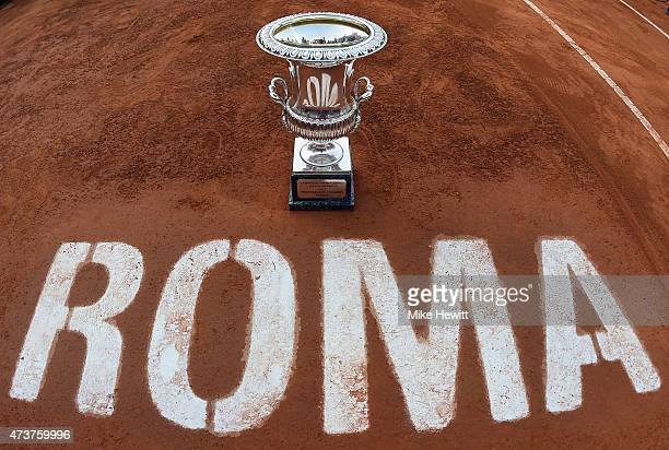 The Winner's Trophy awaits Novak Djokovic of Serbia at the end of the Men's Singles Final on Day Eight of The Internazionali BNL d'Italia 2015 at the...