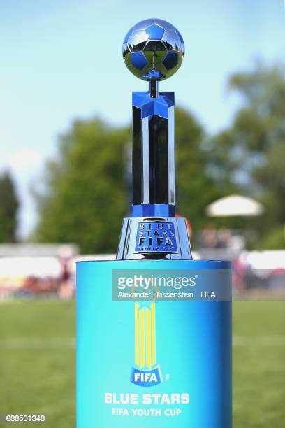 The winners trophy for the Blue Stars/FIFA Youth Cup 2017 is seen on day two of the Blue Stars/FIFA Youth Cup 2017 at the Buchlern sports complex on...
