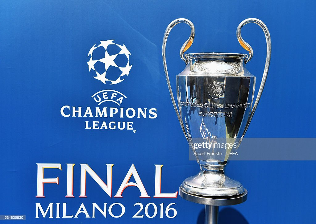 The winners trophy is seen prior to the UEFA Champions League Final between Real Madrid and Club Atletico de Madrid at Stadio Giuseppe Meazza on May 27, 2016 in Milan, Italy.