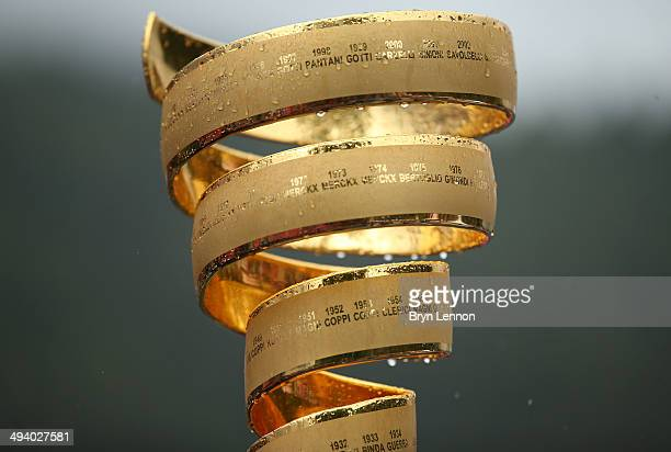 The winners trophy the 'Trofeo Senza Fine' ahead of the sixteenth stage of the 2014 Giro d'Italia a 139km high mountain stage between Ponte di Legno...