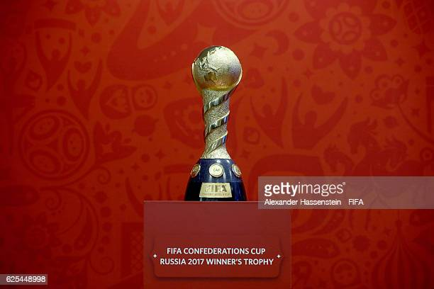 The Winners's trophy for the FIFA Confederations Cup Russia 2017 is displayed on November 24 2016 in Kazan Russia The official draw of FIFA...