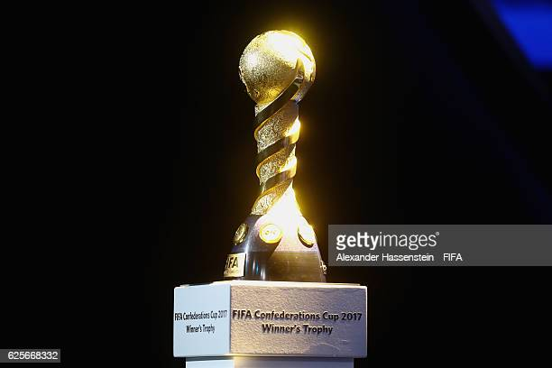 The Winners's trophy for the FIFA Confederations Cup Russia 2017 is displayed during the behind the scenes event at the main hall for the draw of the...