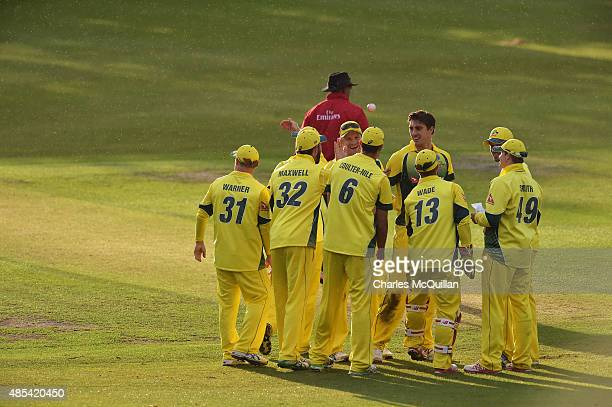 The winning Australian cricket team after the ODI cricket game between Ireland and Australia at Stormont cricket ground on August 27 2015 in Belfast...