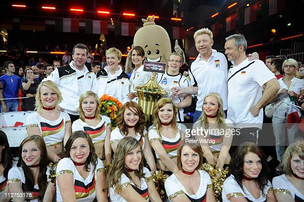 The winning german team poses with the cup after the 'Deutschland Gegen Italien' TV Show on April 20 2011 in Duesseldorf Germany