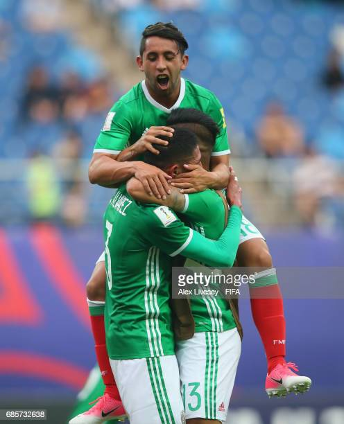 The winning goalscorer Edson Alvarez of Mexico is mobbed by team mates after the FIFA U20 World Cup Korea Republic 2017 group B match between of...