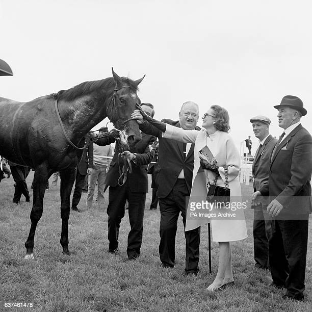The winning horse Nijinsky is congratulated by his owner Charles Engelhard after the race