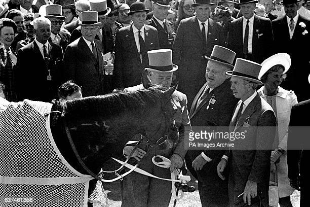 The winning horse Nijinsky with his owner Charles Engelhard in the unsaddling enclosure after the race