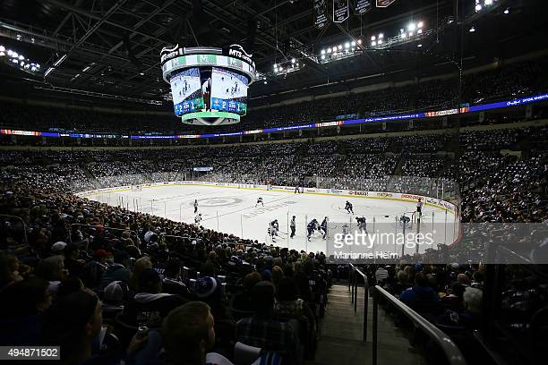 The Winnipeg Jets and Minnesota Wild play against each other during first period action in an NHL game at the MTS Centre on October 25 2015 in...