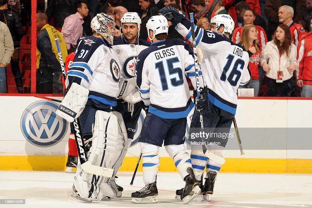 The Winnipeg Jets celebrate with after their won of an NHL hockey game against the Washington Capitals on February 9, 2012 at the Verizon Center in Washington, DC.