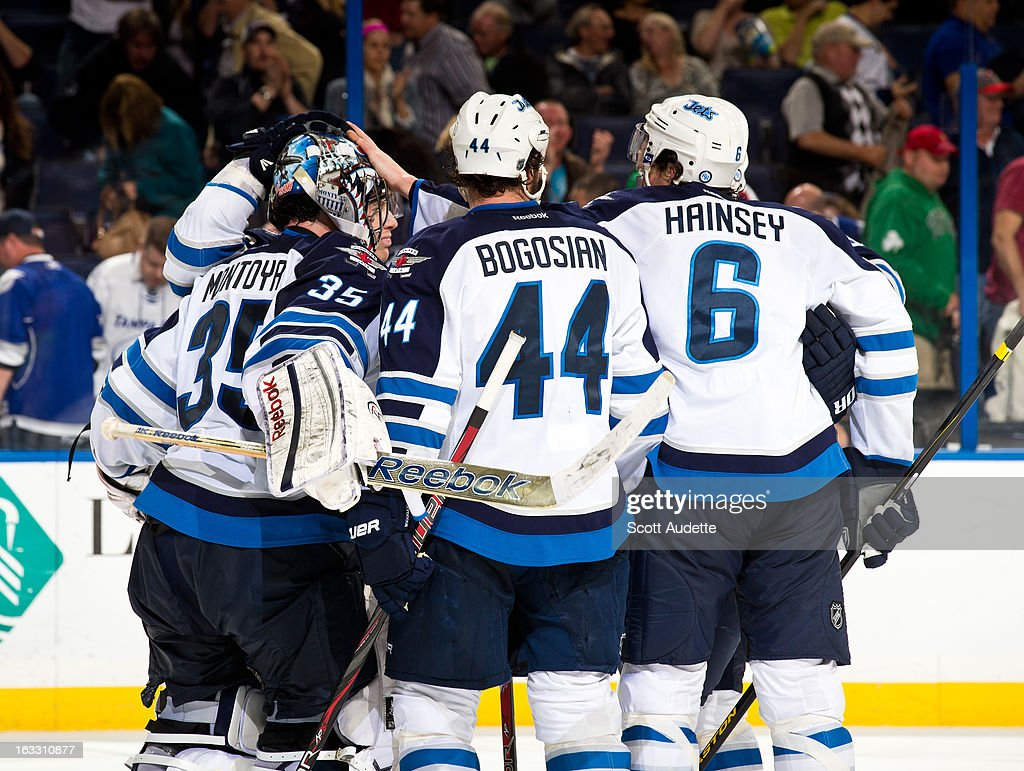 The Winnipeg Jets celebrates after defeating the Tampa Bay Lightning during the third period of the game at the Tampa Bay Times Forum on March 7, 2013 in Tampa, Florida.