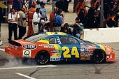 The Winston All Star winner in 1997 was Jeff Gordon shown here during a pit stop at the Charlotte Motor Speedway in Concord North Carolina
