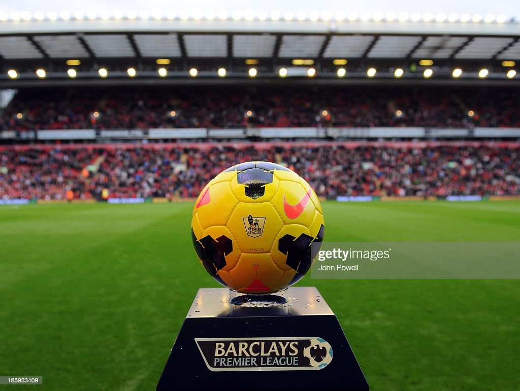 The winter ball in use today before the Barclays Premier League match between Liverpool and West Bromwich Albion at Anfield on October 26, 2013 in Liverpool, England.