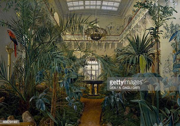 The winter garden in the Winter Palace at St Petersburg painting by Mikhail Ivanovich Antonov oil on canvas 46x67 cm Russia 19th century