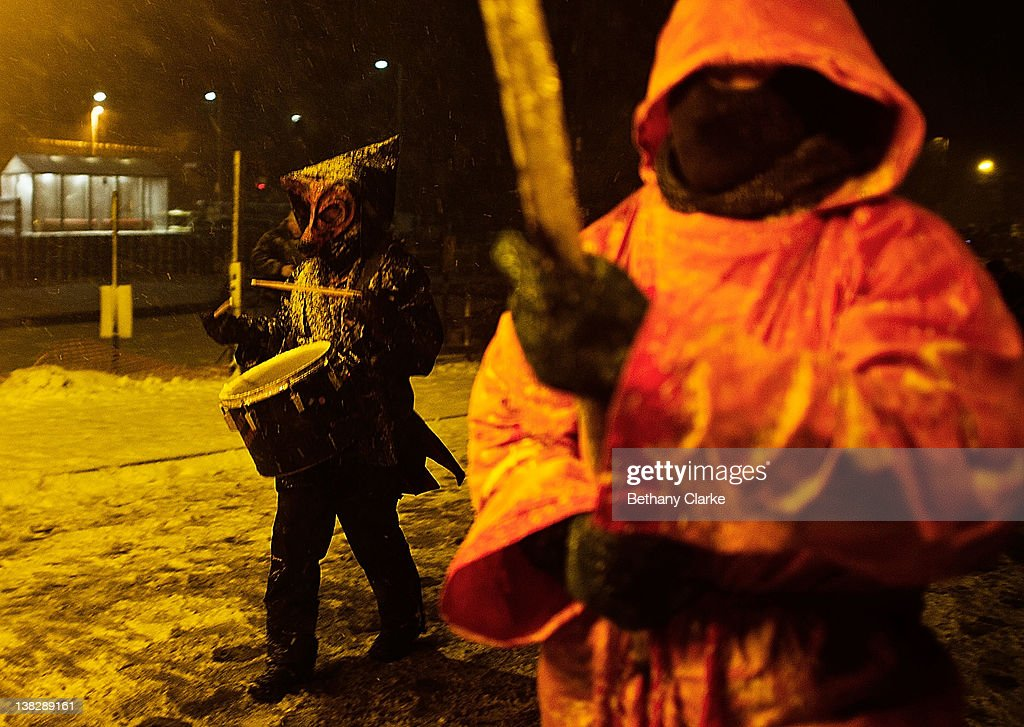 The winter procession walks through the snow on February 4, 2012 in Huddersfield, England. Imbolc is a pagan festival that marks the half way point between the winter solstice and the spring equinox.Imbolc festivals celebrates the awakening of the land and the growing power of the Sun.