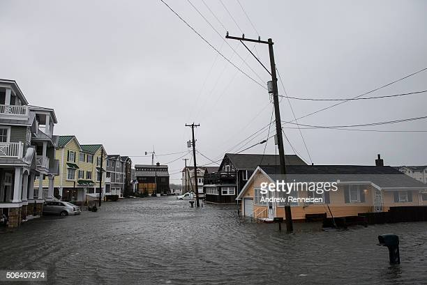 The winter storm mixed with high tide causes flooding in a group of homes off of Route 10 on January 23 2016 in Cape May New Jersey A major snowstorm...