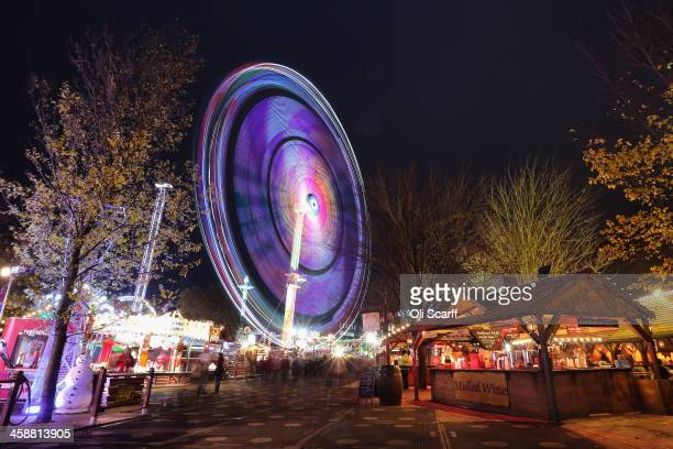 The 'Winter Wonderland' attraction in Hyde Park on November 26 2013 in London England The temporary festive theme park runs for over six weeks around...