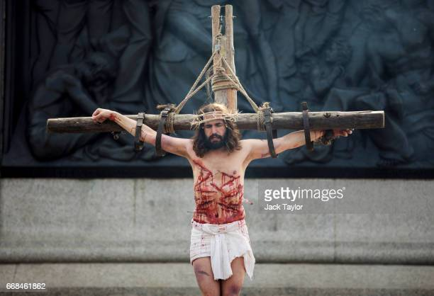 The Wintershall Players perform 'The Passion of Jesus' in front of crowds on Good Friday in Trafalgar Square on April 14 2017 in London England Good...