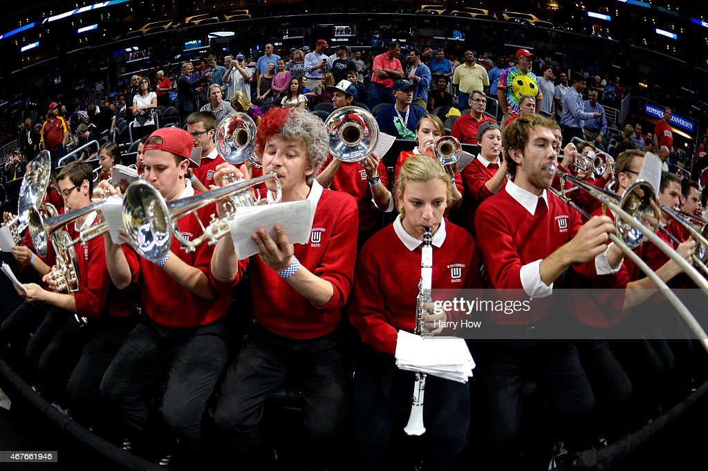 The Wisconsin Badgers band performs before the West Regional Semifinal of the 2015 NCAA Men's Basketball Tournament at Staples Center on March 26...
