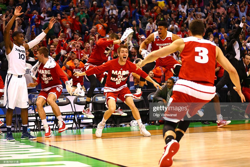 The Wisconsin Badgers bench reacts after <a gi-track='captionPersonalityLinkClicked' href=/galleries/search?phrase=Bronson+Koenig&family=editorial&specificpeople=9510843 ng-click='$event.stopPropagation()'>Bronson Koenig</a> #24 makes the game winning basket at the buzzer against the Xavier Musketeers during the second round of the 2016 NCAA Men's Basketball Tournament at Scottrade Center on March 20, 2016 in St Louis, Missouri.
