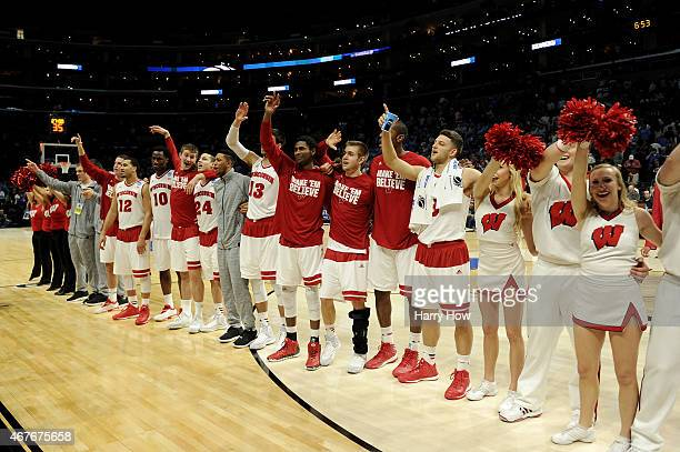 The Wisconsin Badgers celebrate after the Badgers 7972 victory against the North Carolina Tar Heels during the West Regional Semifinal of the 2015...
