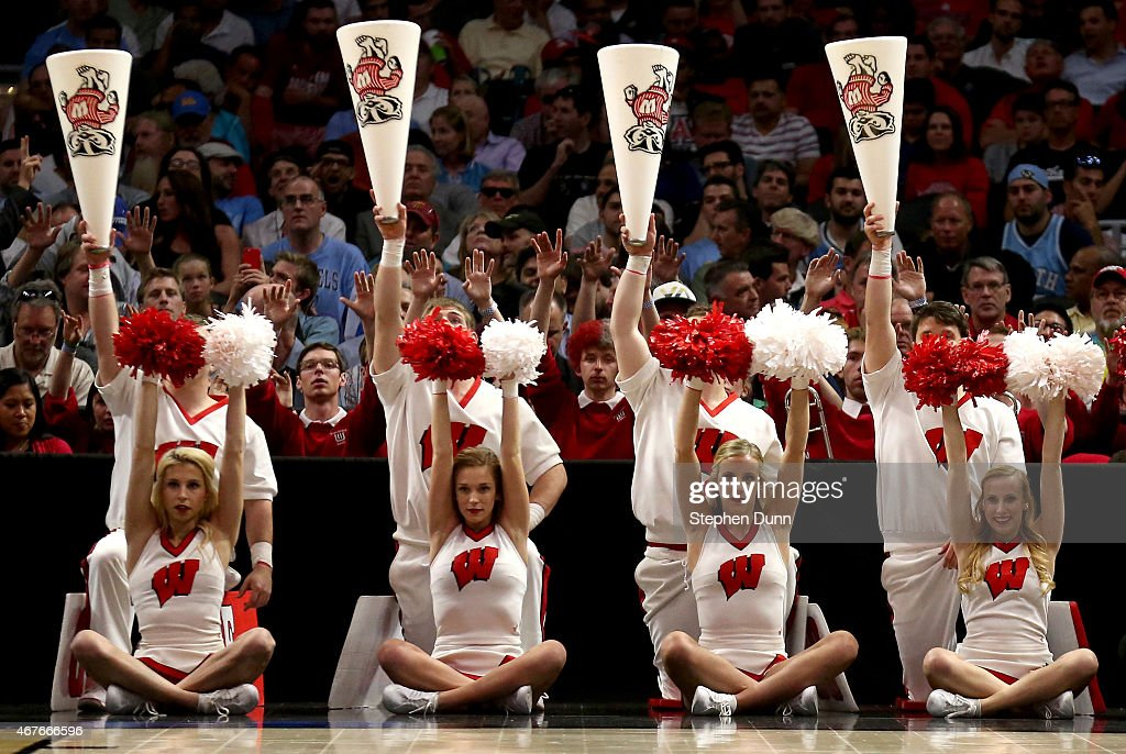 The Wisconsin Badgers cheerleaders are seen in the first half during the West Regional Semifinal of the 2015 NCAA Men's Basketball Tournament at...