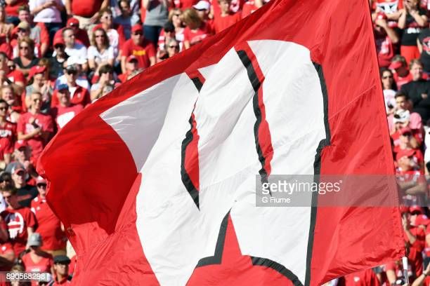 The Wisconsin Badgers flag flies at the game against the Maryland Terrapins at Camp Randall Stadium on October 21 2017 in Madison Wisconsin