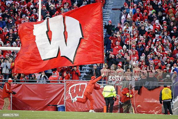 The Wisconsin Badgers flag is out against Northwestern Wildcats on November 21 2015 at Camp Randall Stadium in Madison Wisconsin