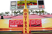 The Wisconsin Badgers take on the Auburn Tigers during the Outback Bowl on January 1 2015 at Raymond James Stadium in Tampa Florida