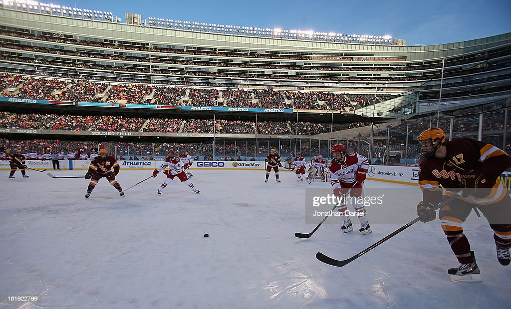 The Wisconsin Badgers take on the Minnesota Golden Gophers during the Hockey City Classic at Soldier Field on February 17, 2013 in Chicago, Illinois.