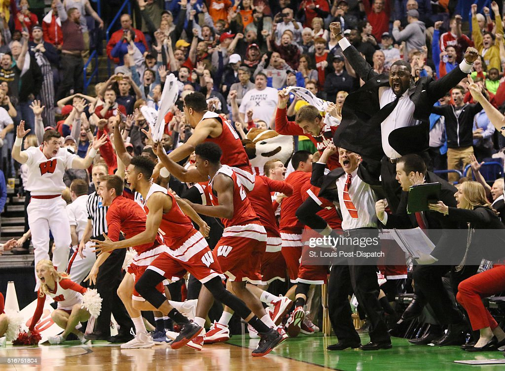 The Wisconsin bench reacts after guard Bronson Koenig hit the gamewinning threepointer as time expired during the second half on Sunday March 20 at...