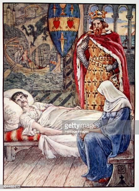The Witch gives Advice as to Sir Tristram's Wound' 1911 How Sir Tristram kept his word From Stories of the Knights of the Round Table by Henry...
