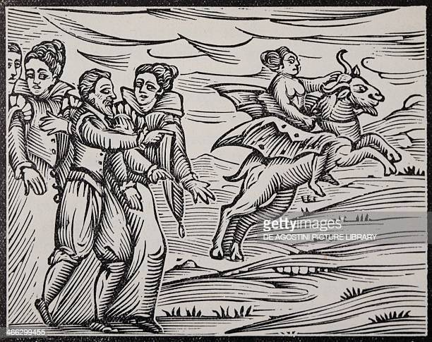 The witch's flight engraving from the Compendium Maleficarum by Francesco Maria Guazzo Milan 1626 Italy 17th century