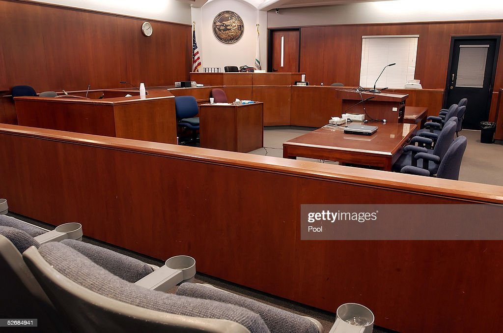 The witness stand and judges bench as seen from the juror seats in the courtroom at the Santa Barbara County Courthouse where the child molestation...